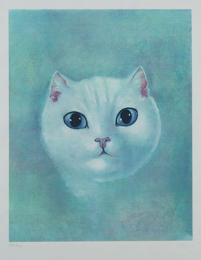 Léonor FINI (1907-1996) Le chat blanc Lithographie...