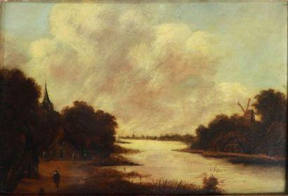 École hollandaise du XVIIème siècle.  Paysage...