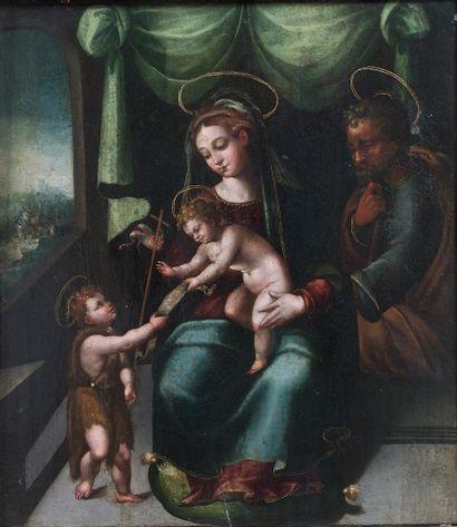 École de Ferrare, vers 1520.  Sainte famille...