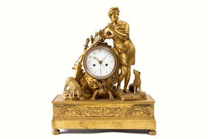 Importante pendule en bronze doré, figurant...