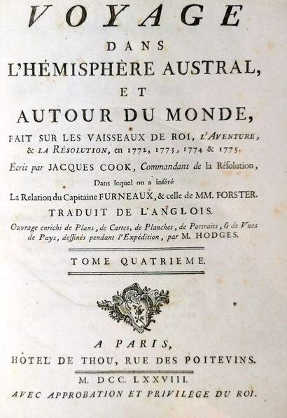 COOK (James - Capitaine).  Voyage dans l'hémisphère austral, et autour du monde,...