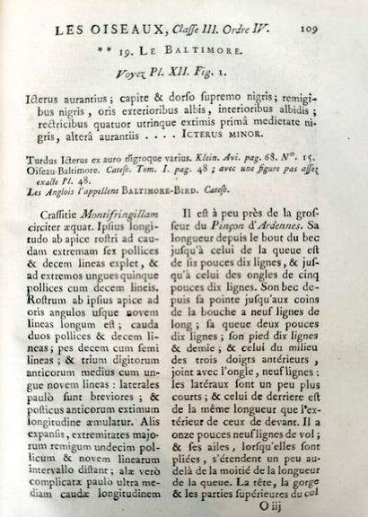 BRISSON (Mathurin-Jacques).  Ornithologie ou Méthode contenant la division des oiseaux...
