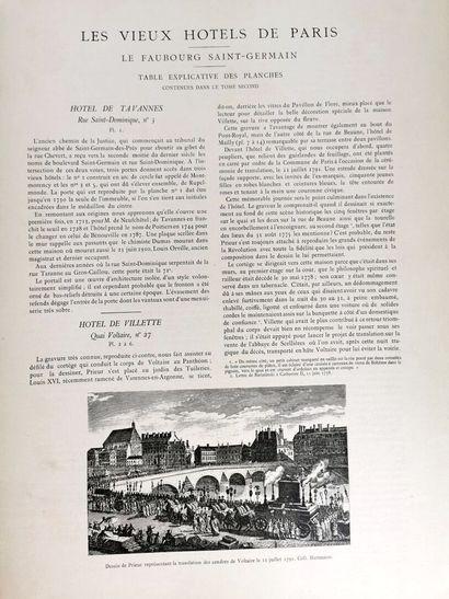 Les Vieux Hôtels de Paris.  Paris, F. Contet, 1909-1937.  19 volumes in-folio, en...