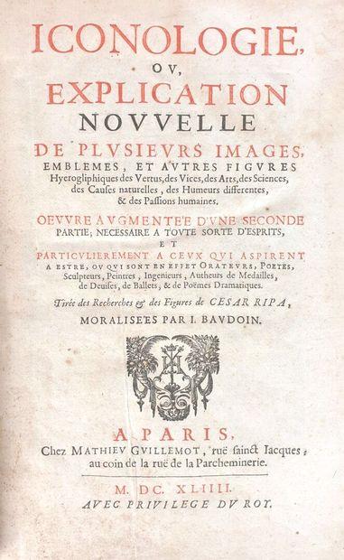 RIPA (Cesare, 1555-1622).  Iconologie, ou...