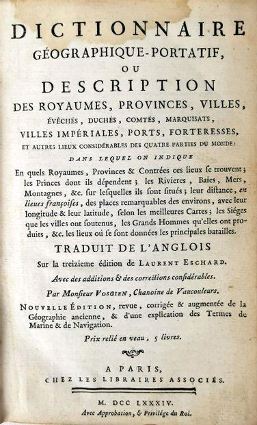 VOSGIEN.  Lot de deux dictionnaires géographiques :  - Dictionnaire géographique...