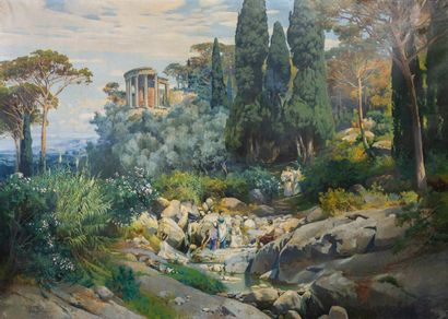 Hermann NESTEL (1858-1905).  Vue de Bordighera....