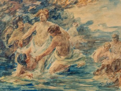 Gabriel GRIFFON (1866-1938).  Baigneuses...