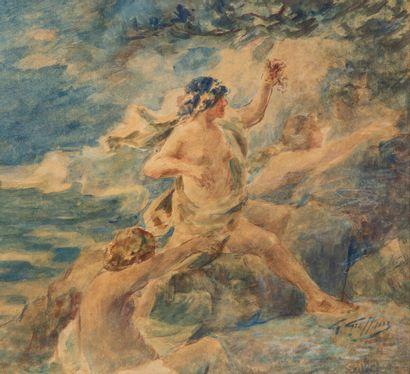 Gabriel GRIFFON (1866-1938).  Trois nymphes....