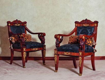 *Paire de fauteuils d'apparat en acajou,...