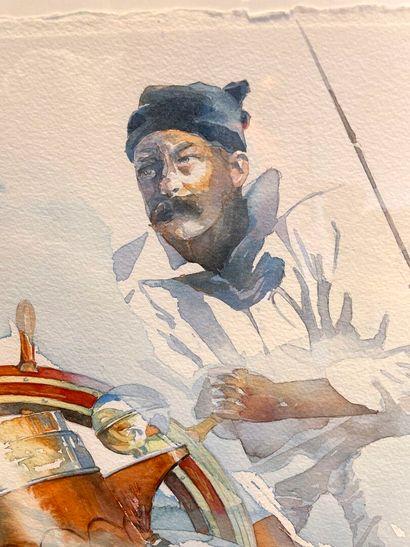 """Philippe GAVIN - Peintre aquarelliste et régatier.  Charlie Barr, """"the best skipper..."""