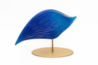 Antoine PIERINI (né en 1980) - Maître verrier, souffleur et sculpteur.  Voile.  Verre...