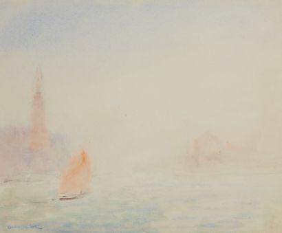 André BARBIER (1883-1970)  Vue de Venise...