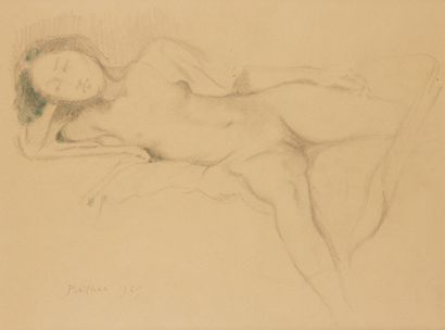 * BALTHUS (1908- 2001) Nu étendu, 1969 Crayon...