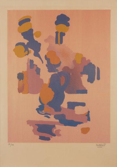 * Roland BIERGE (1922-1991)  Bouquet bleu,...