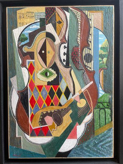 PETROFF (Né en 1954)  Composition à l'Arlequin...