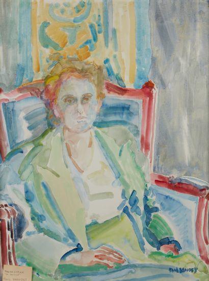 Paul BRAUDEY (Né en 1930)  Portrait de femme...