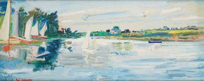 Paul BRAUDEY (Né en 1930)  Les voiliers  Huile...