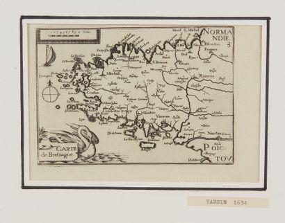 TASSIN, Christophe. Carte de Bretagne. Paris, 1634. Noir et blanc. Bel exemplaire....