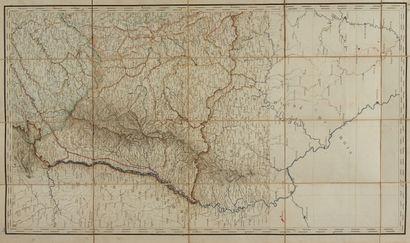 DUBRENA, V. Carte hydrographique de la France. Paris, 1828. Col. d'époque. Carte...