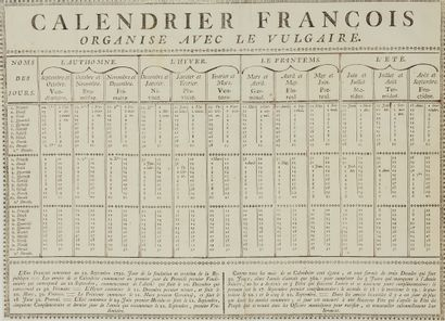 ANONYMOUS. French Calendar organized with the Vulgar. Ca. 1806-1815. Black and white....