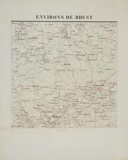 DÉPÔT DE LA GUERRE. Brest. Carte en 9 feuilles....