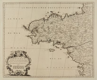 SANSON, N. La Bretagne divisée en ses 9 évèchés...