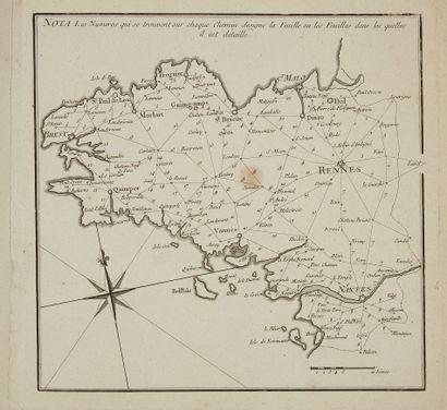 OGÉE, Jean. Atlas itinéraire de Bretagne. Nantes, 1769. Noir et blanc. In-4 oblong...