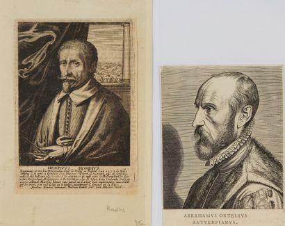 DIVERS. Lot de portraits de géographes. XVIe au XIXe siécle. Noir et blanc. Ensemble...