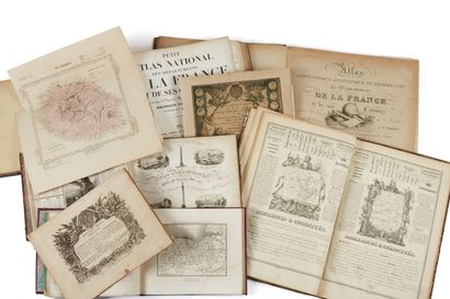 CHIQUET / PERROT / HENRY… Lot d'atlas régionaux et départementaux de la France XVIIIe...