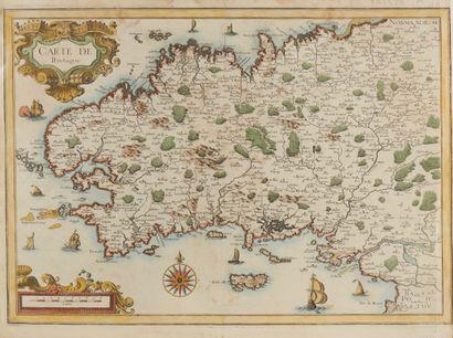TASSIN, Christophe. Carte de Bretagne. Paris, 1634. Col. Quelques pâles mouillures...