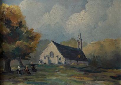 * R. SAMPIC (XXe siècle)  Vue d'Eglise en...