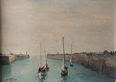 * R, SAMPIC (XXe siècle)  Voiliers au port...
