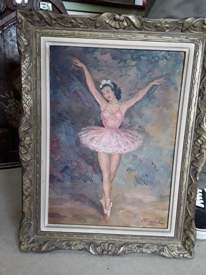 * André RAOUL  Danseuse classique  Huile...