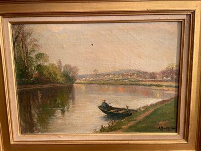 A. MOULIGNIE  Bord de Seine  Huile sur toile...