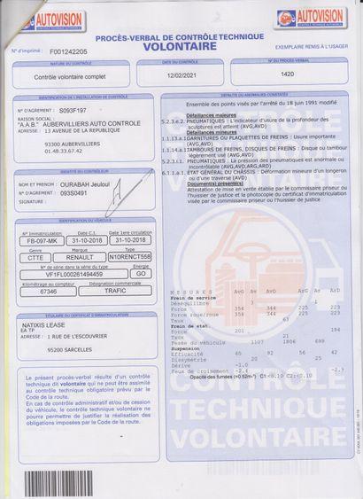 CTTE RENAULT TRAFIC FOURGON de couleur Blanche  Carburant : GO  Puissance Administrative...
