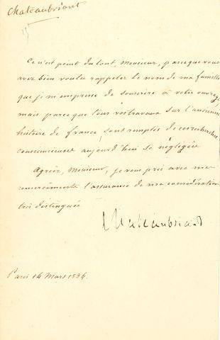 * François-René de CHATEAUBRIAND (1768-1848). L.S., Paris 14 mars 1834 ; la lettre...