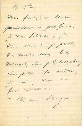 * Victor HUGO. L.A.S. « Victor Hugo », 15...