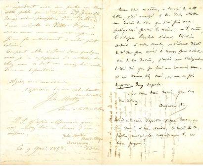 * Victor HUGO. NOTE autographe (demi-page in-8) au dos d'une L.A.S. de Jules MOTTU,...
