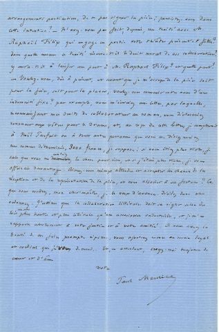 * Alexandre DUMAS père (1802-1870). L.A.S., 7 septembre 1863, à Paul MEURICE ; 3...