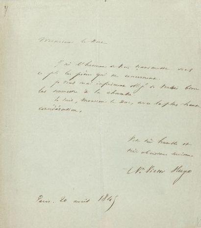 * Victor HUGO. L.A.S. « le Vte Victor Hugo », Paris 20 avril 1845, au duc DECAZES...