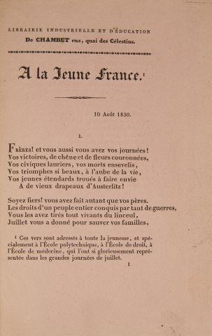 * HUGO (Victor). A la jeune France. Paris,...