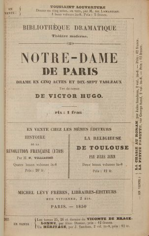 * HUGO (Victor). Notre-Dame de Paris. Drame en cinq actes et dix-sept tableaux....