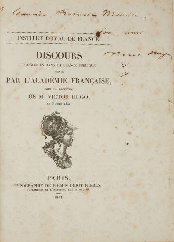 * HUGO (Victor). Institut royal de France. Discours prononcés dans la séance publique...