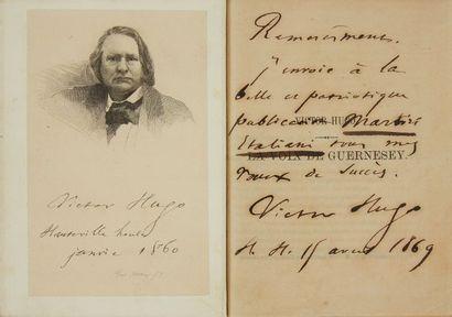 * HUGO (Victor). La voix de Guernesey. S.l., s.d. (1867), (de l'imprimerie Bichard,...