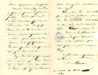 * Victor HUGO. L.A.S. « Victor », 20 avril 1827, à son père, le lieutenant général...