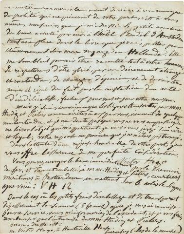* Juliette DROUET (1806-1883). Copie autographe d'une lettre de Victor HUGO, Guernesey,...