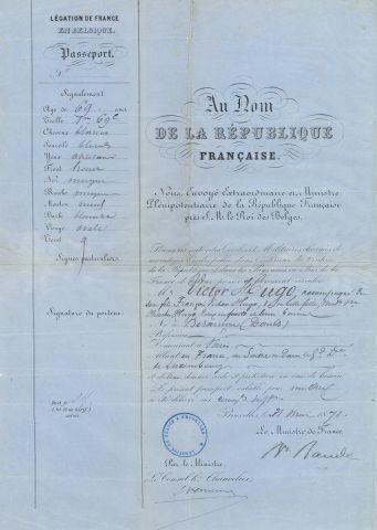 * [Victor HUGO]. PASSEPORT signé par le baron...