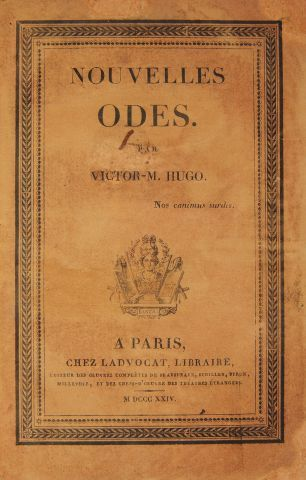 * HUGO (Victor). Nouvelles odes. Paris, Ladvocat, 1824, in-12, xxviii- 232 pp. demi-rel....