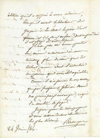 * Pierre Jean de BÉRANGER (1780-1857) poète et chansonnier. L.A.S., 24 juin 1486,...
