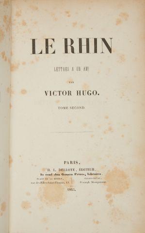 * HUGO (Victor). Le Rhin. Lettres à un ami. Paris, Delloye, 1842, 2 vol. in-8, 2...